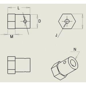 Acoplamiento Hexagonal de Metal 4 MM Genérico - 4