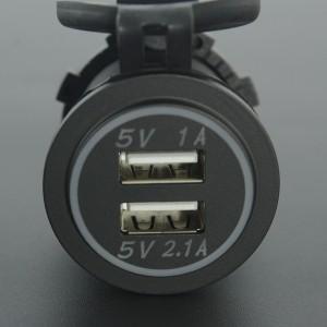 Cargador USB Doble Con LED Naranja Para Moto