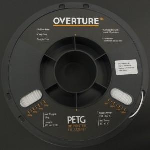 Filamento PETG 1.75mm Blanco para Impresora 3D 1Kg OVERTURE