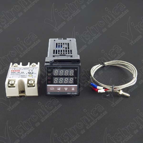 Kit Controlador PID de Temperatura REX-C100 + Termocupla tipo K + Relé SSR