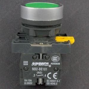 Interruptor Pulsador Normalmente Abierto Verde 22MM Genérico - 1