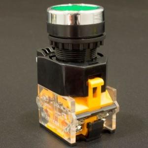 Interruptor Pulsador Normalmente Abierto 22mm LA38-11BN Verde