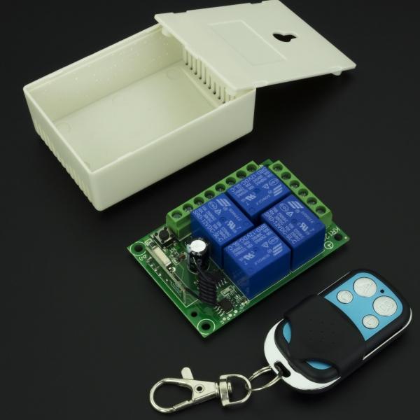 Módulo Relé 4 Canales con RF 315Mhz 10A + Caja + Control