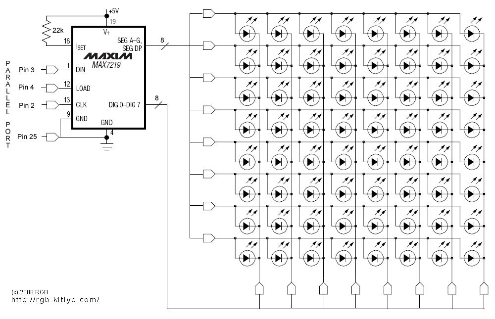 matriz de leds 8x8 c u00e1todo com u00fan con max7219